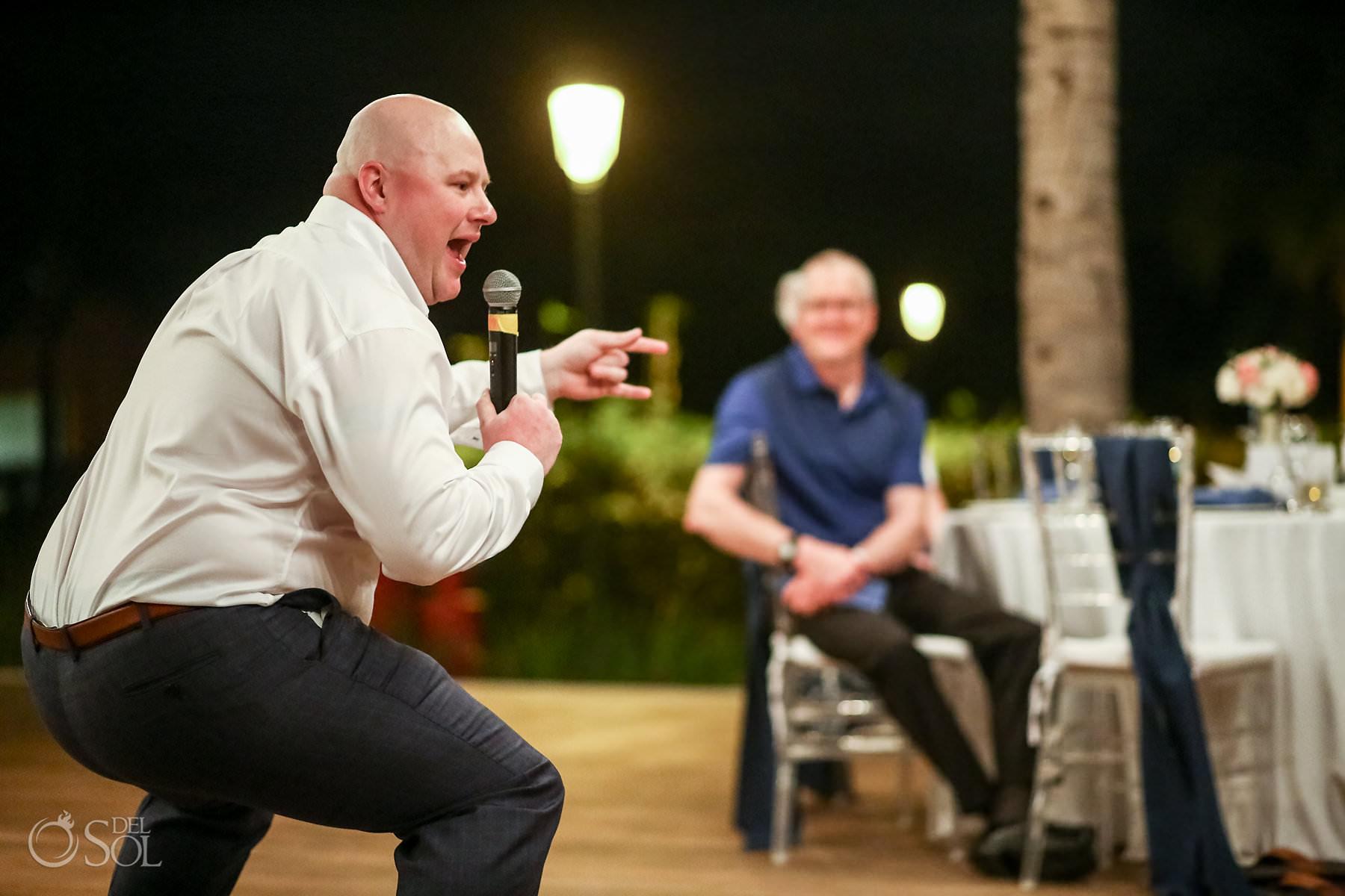 best man fun speech Captain Morgan Grill wedding reception