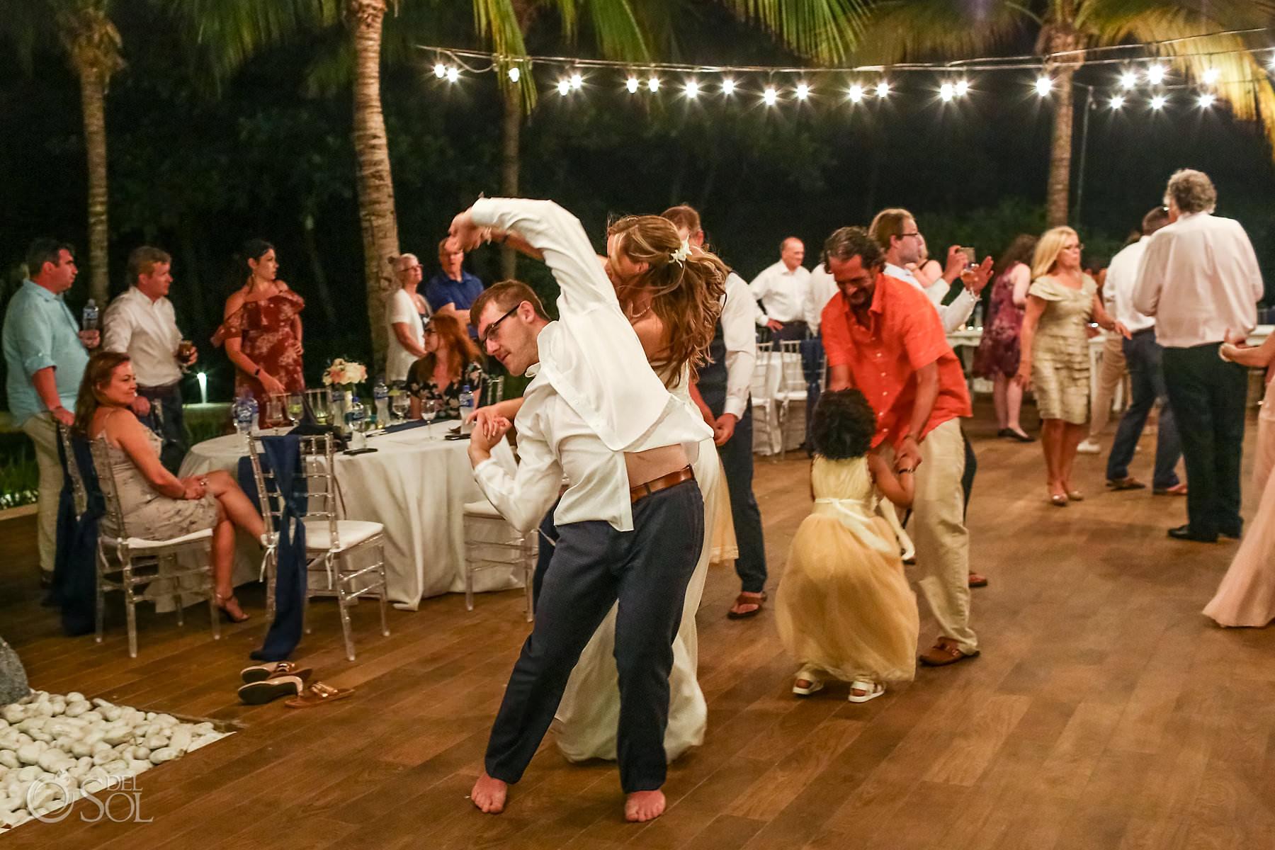 dance and fun Weddingn reception Captain Morgan Grill Riviera Maya Mexico