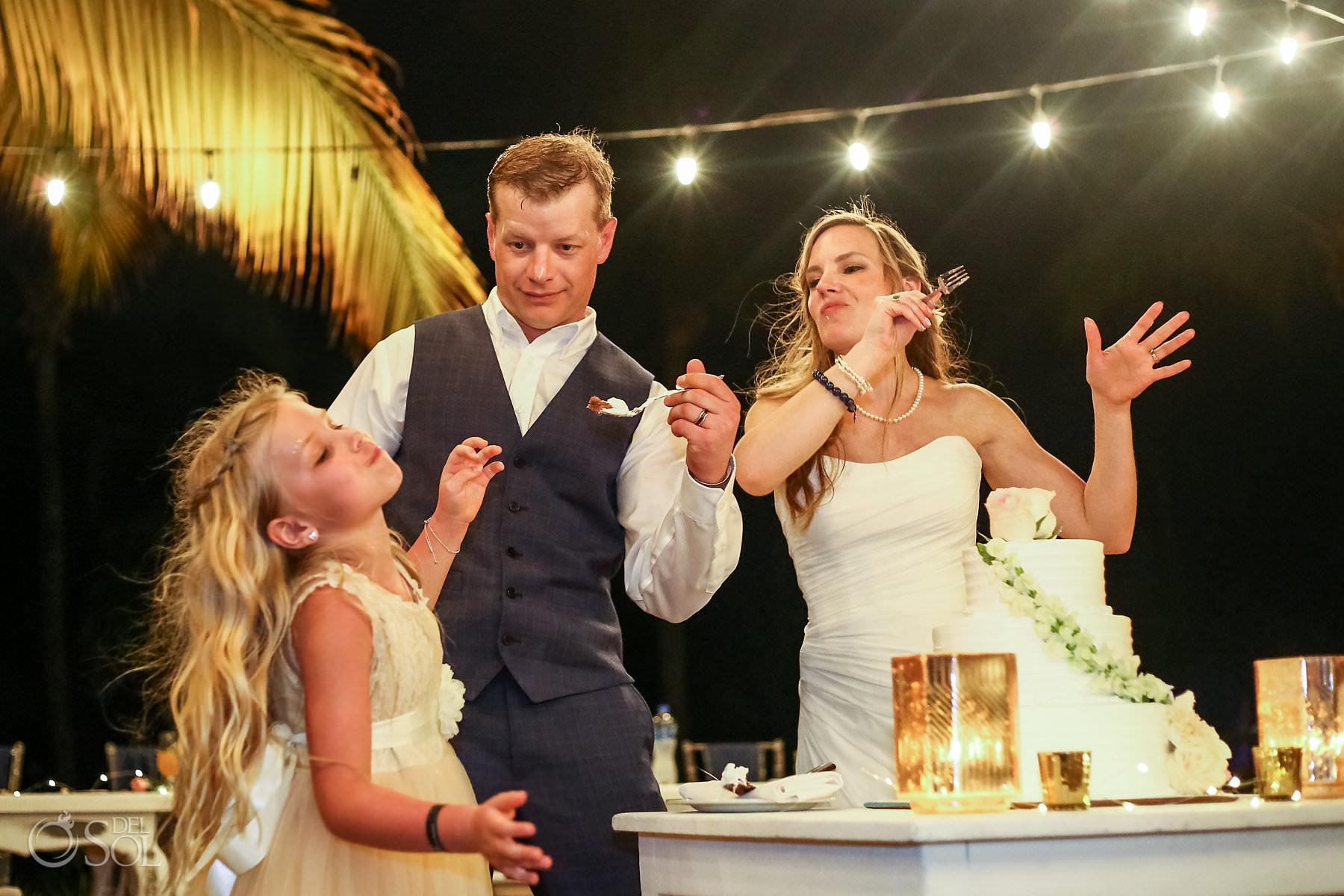 cake cutting family fun Wedding Captain Morgan Grill reception Riviera Maya Mexico