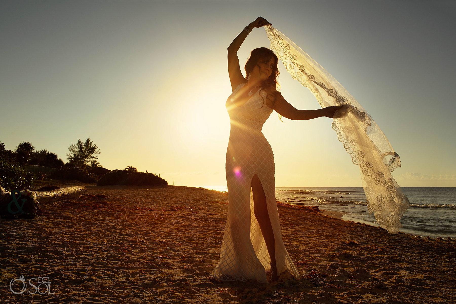 sunrise trash the dress photography Playa del Carmen, Mexico