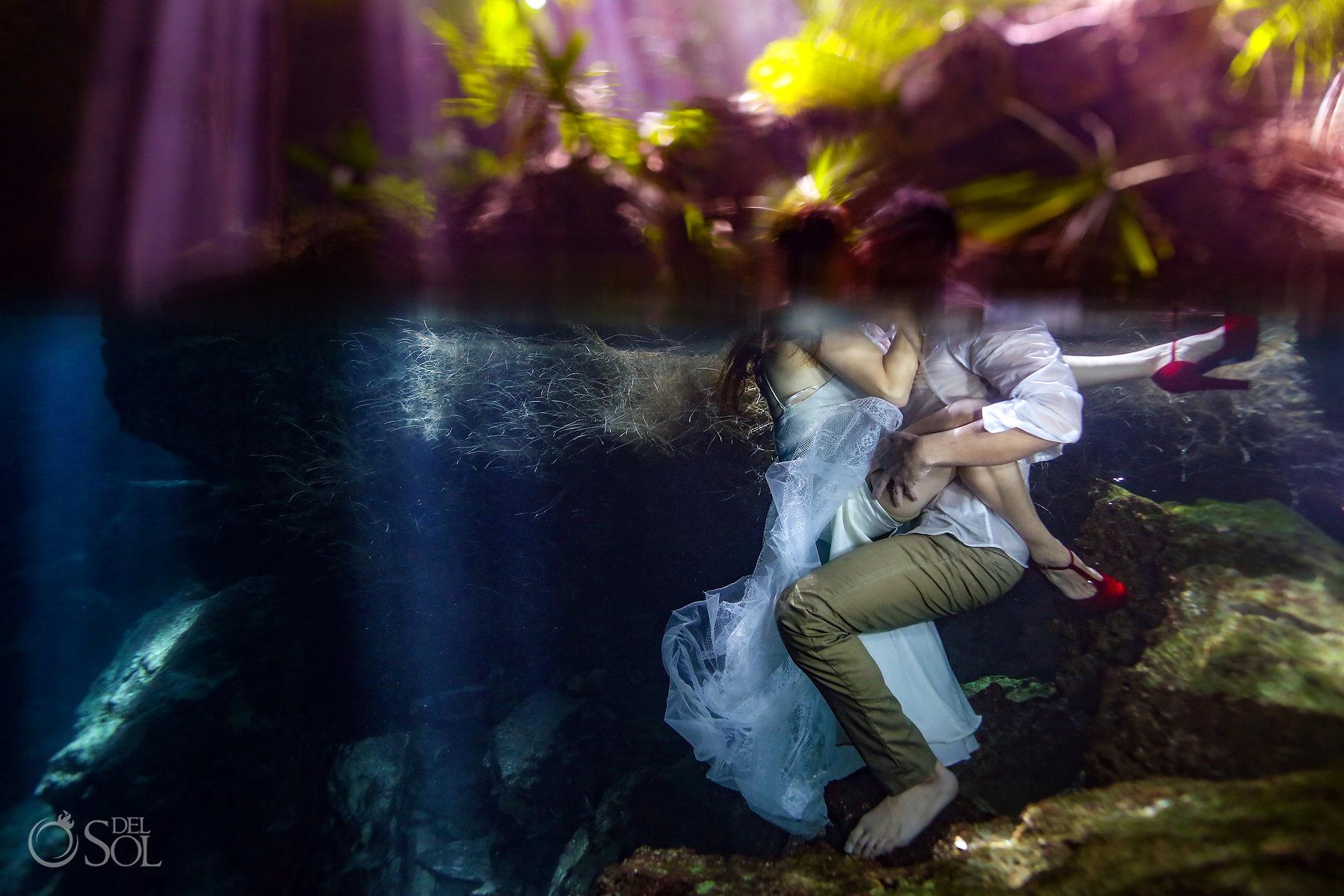 Underwater Superman Photography trash the dress ideas