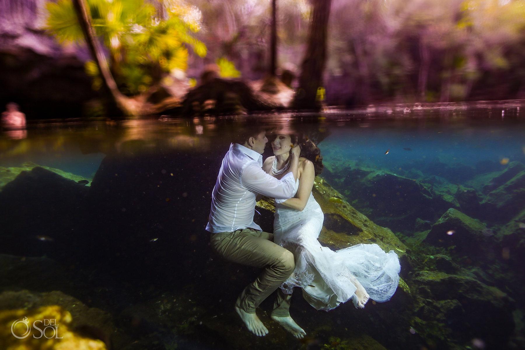 Underwater Superman Photography trash the dress Playa del Carmen, Mexico