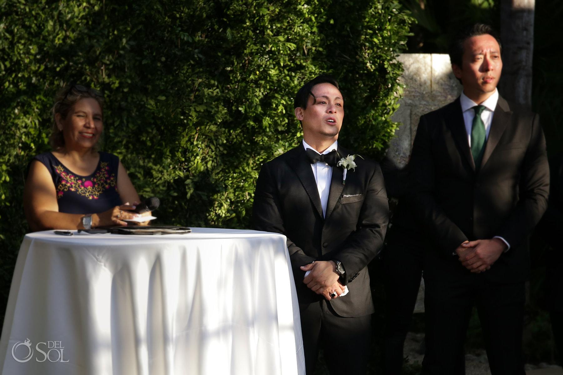 Epic first look Blue Diamond Spa Wedding Playa del Carmen Mexico