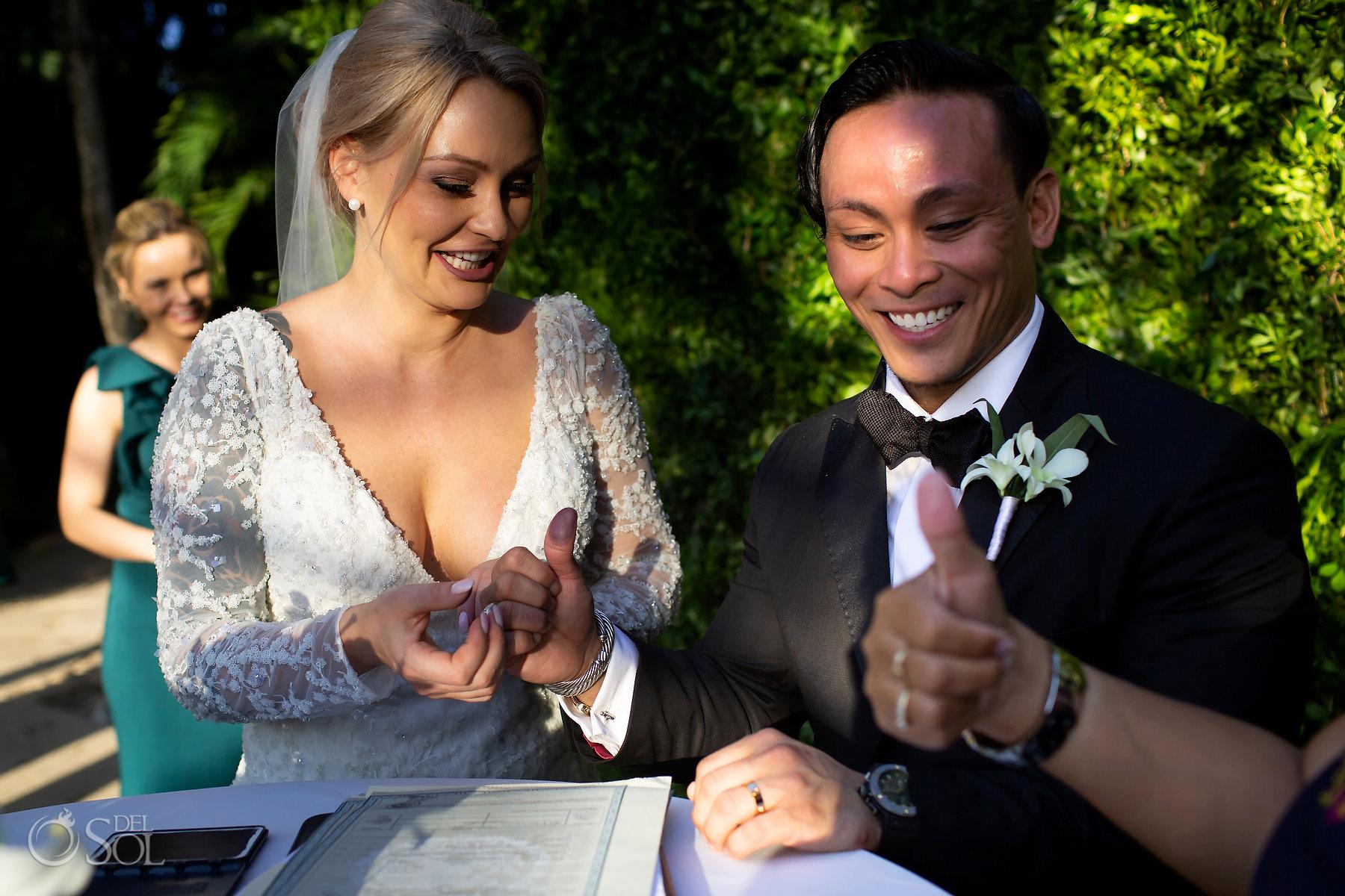 Legal wedding ceremony Playa Del Carmen Mexico finger prints