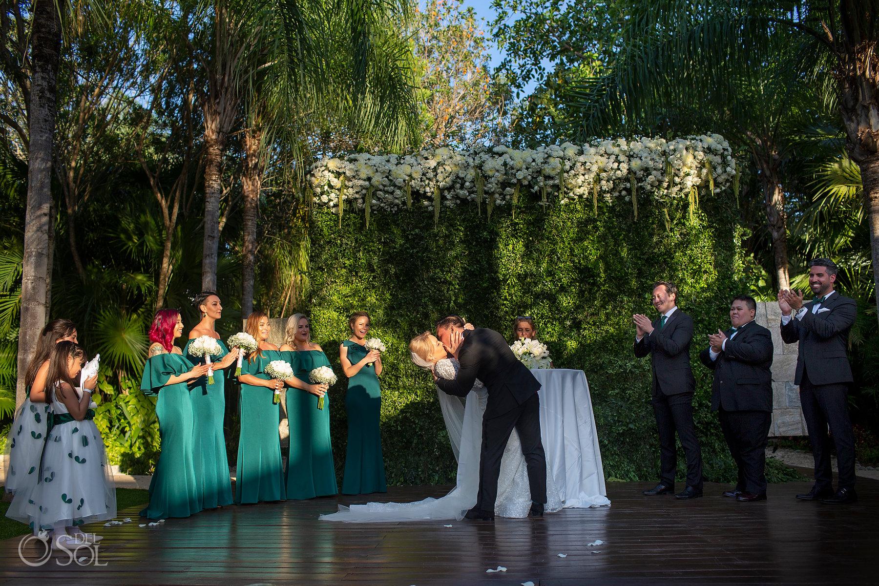 First Kiss Blue Diamond Spa Wedding