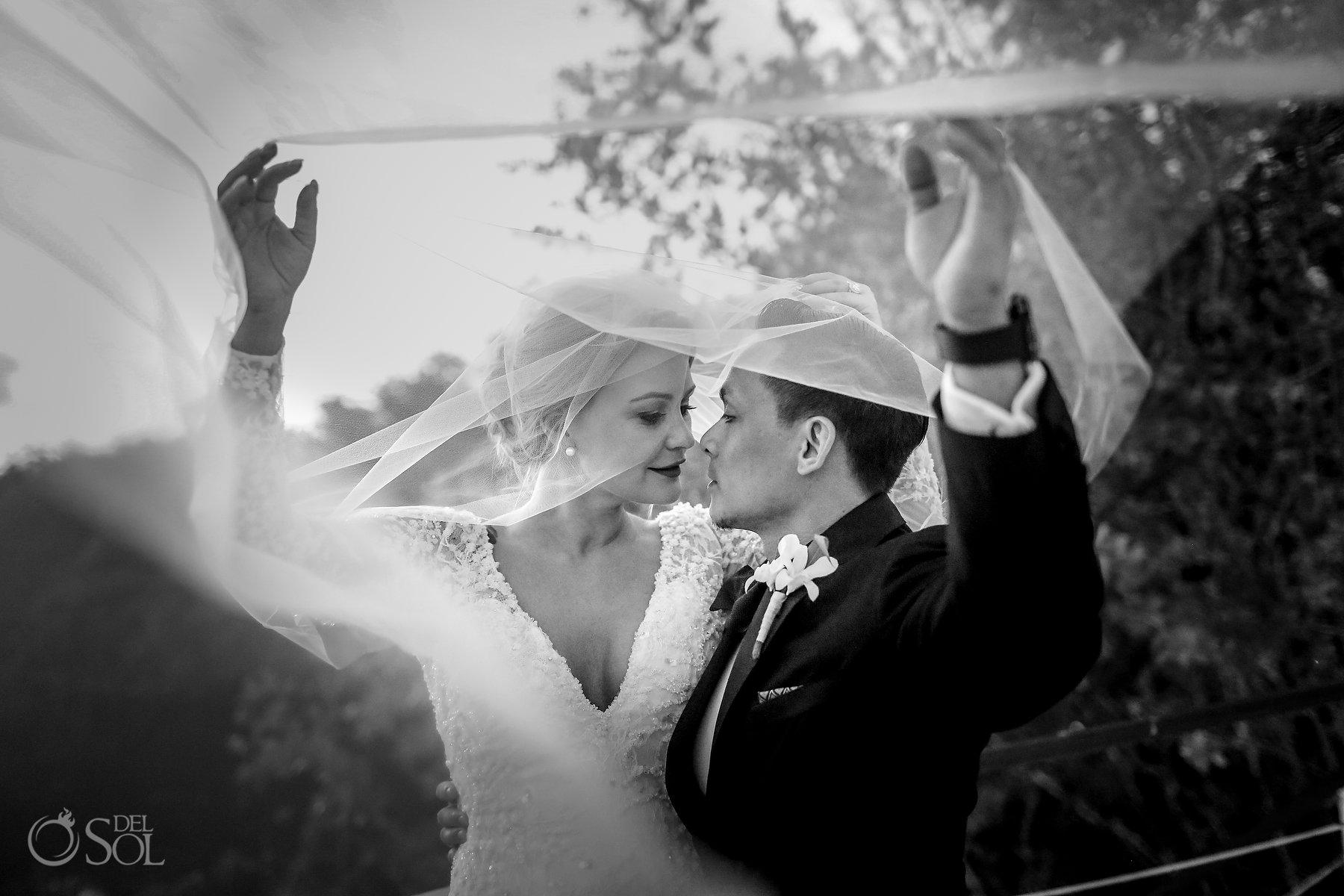 long bridal veil couple portrait blue diamond luxury boutique hotel