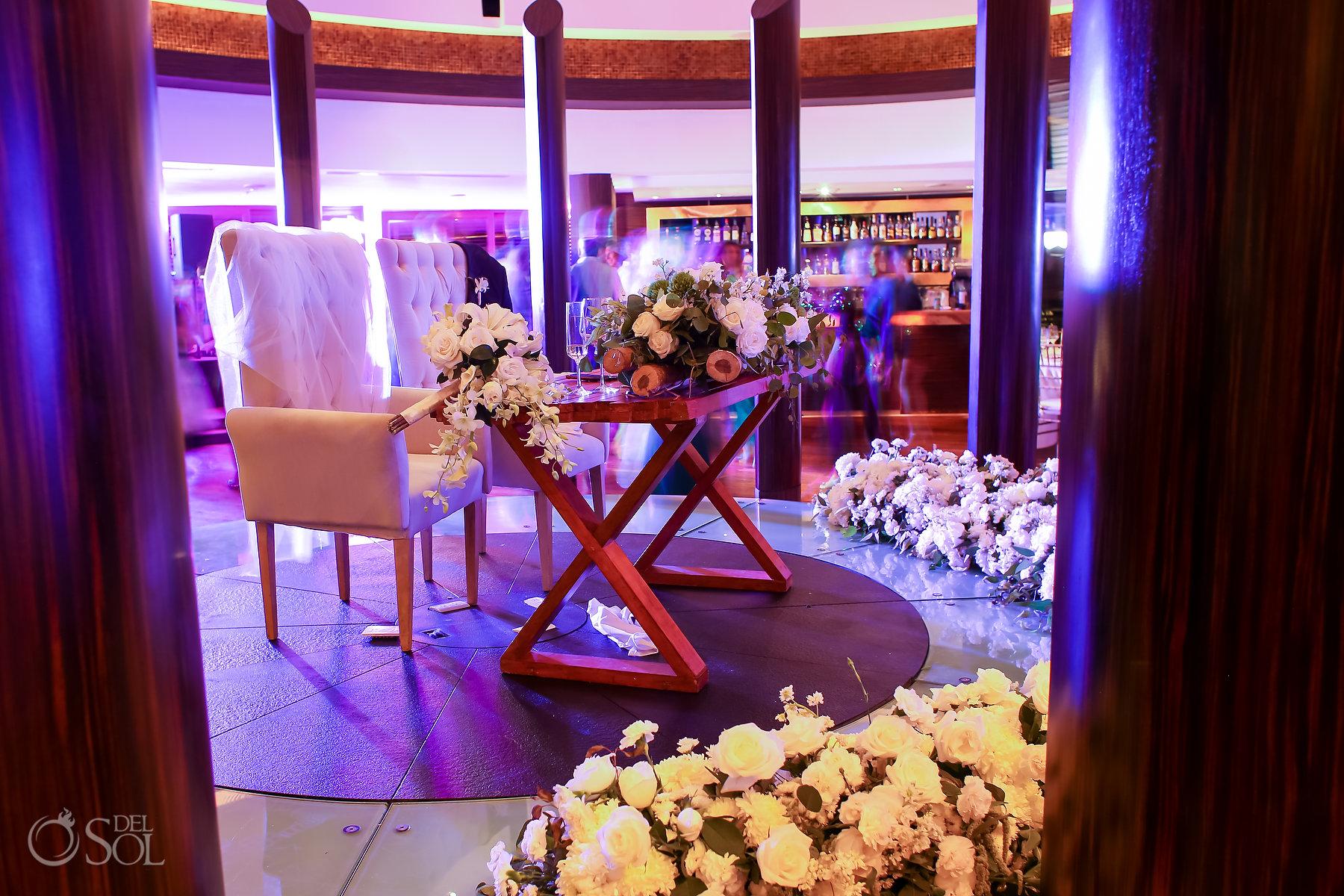 sweetheart table white floral arrangement Restaurant Ambar blue diamond luxury boutique hotel