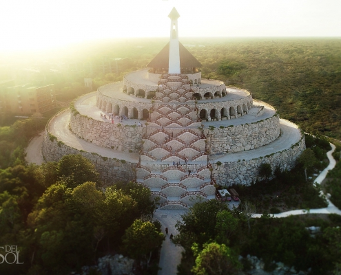 Hotel Xcaret Mexico Weddings The Capilla de Todos los Angeles sitting at the top of the Xpiral Pyramid