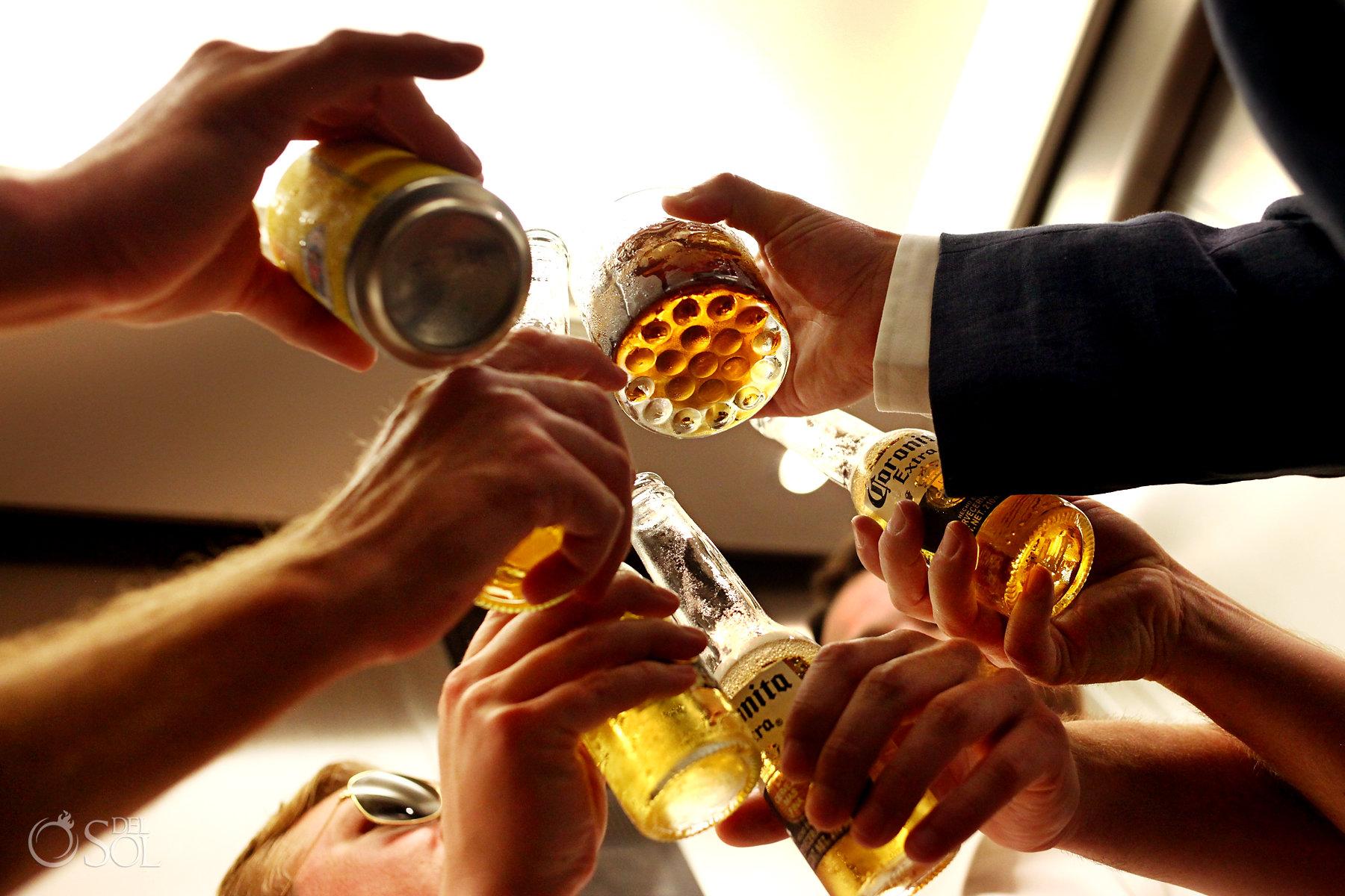 groomsmen toasting Secrets Maroma Boho Chic Wedding