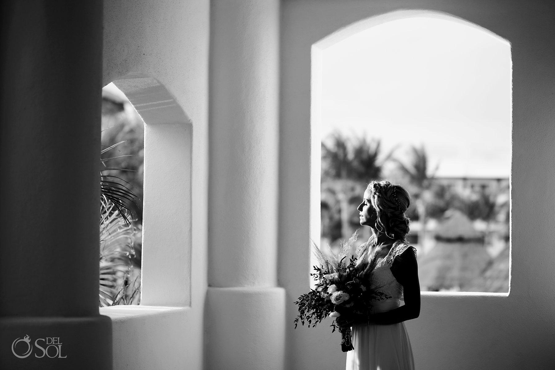 Bride portraits Secrets Maroma Boho Chic Wedding Mexico