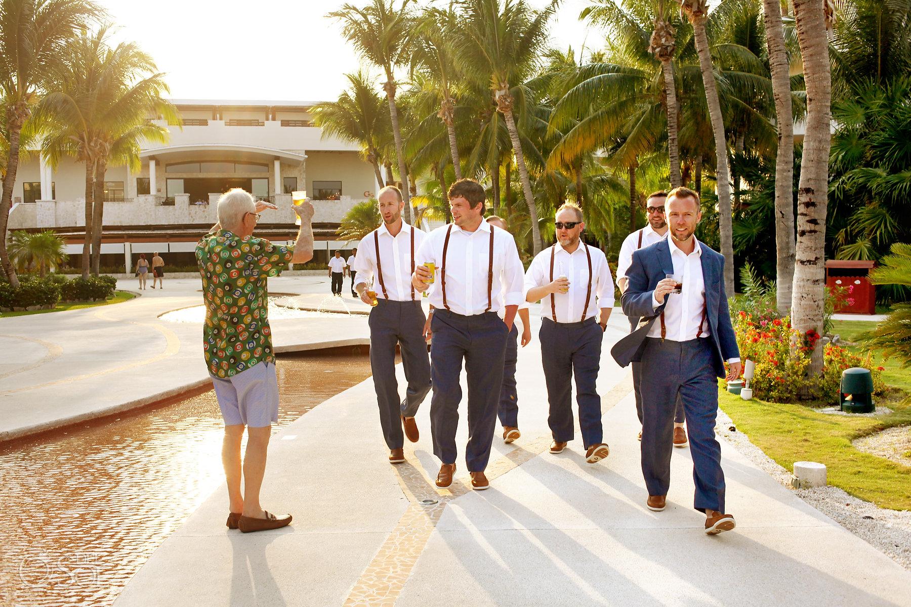 groomsmen walking Secrets Maroma Boho Chic Wedding