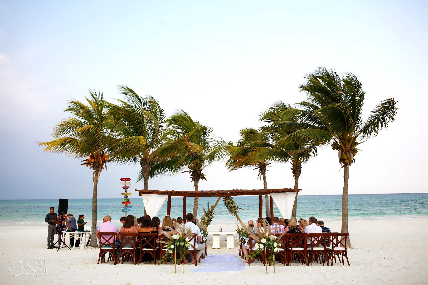 Secrets Maroma Boho Chic Beach Wedding setup