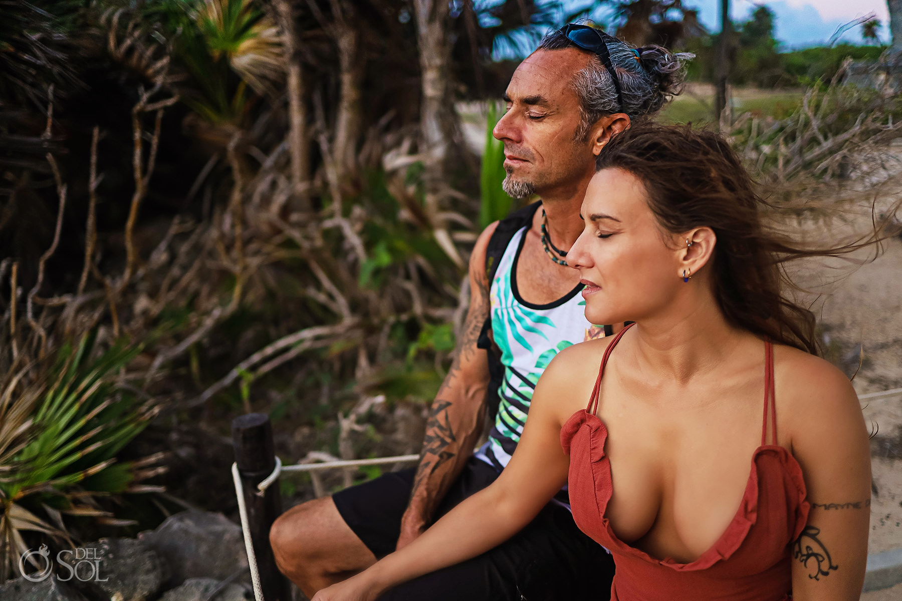 meditating sunrise at Tulum Ruins private VIP tour Riviera Maya Mexico