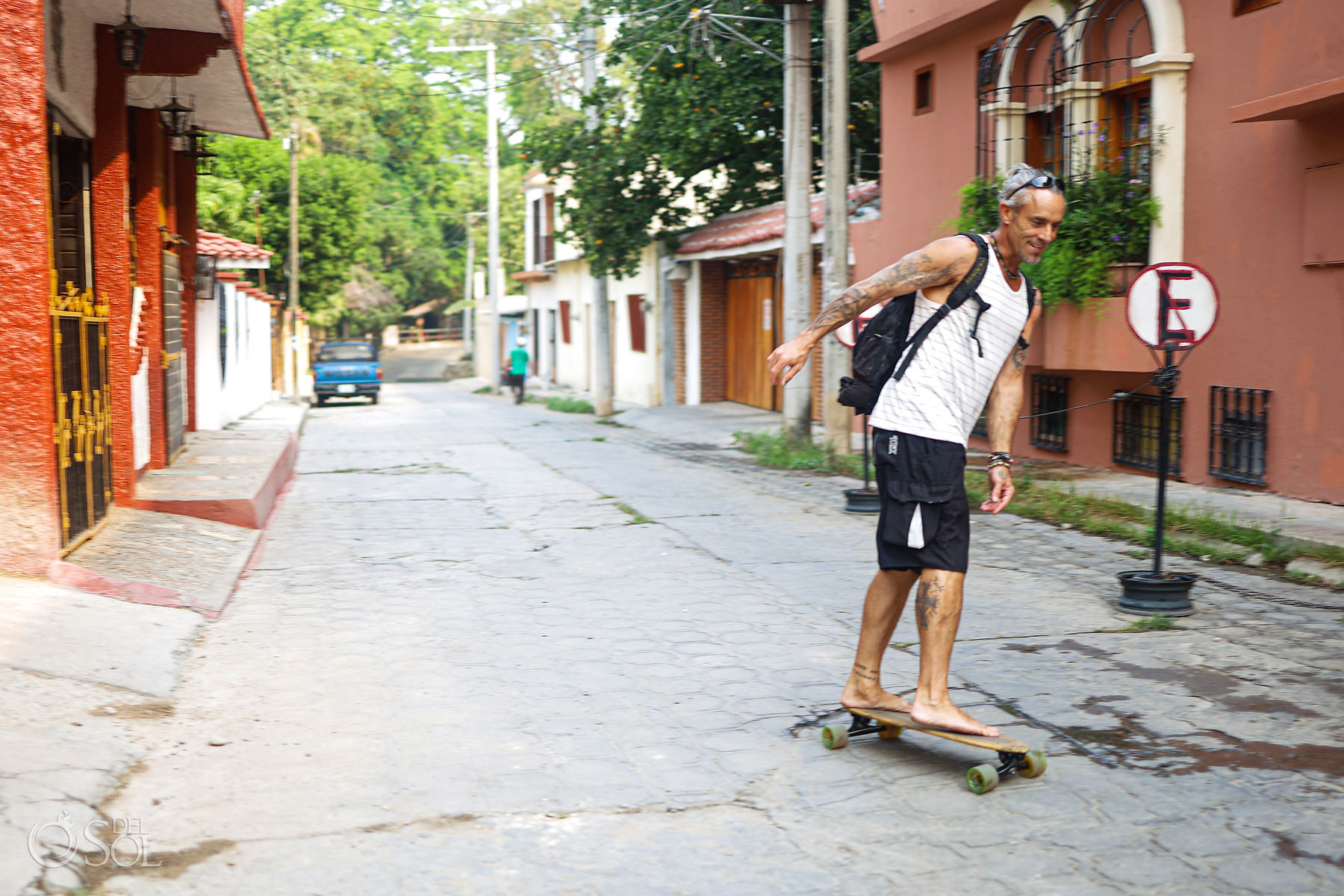 Longboard in city streets Chiapas Mexico