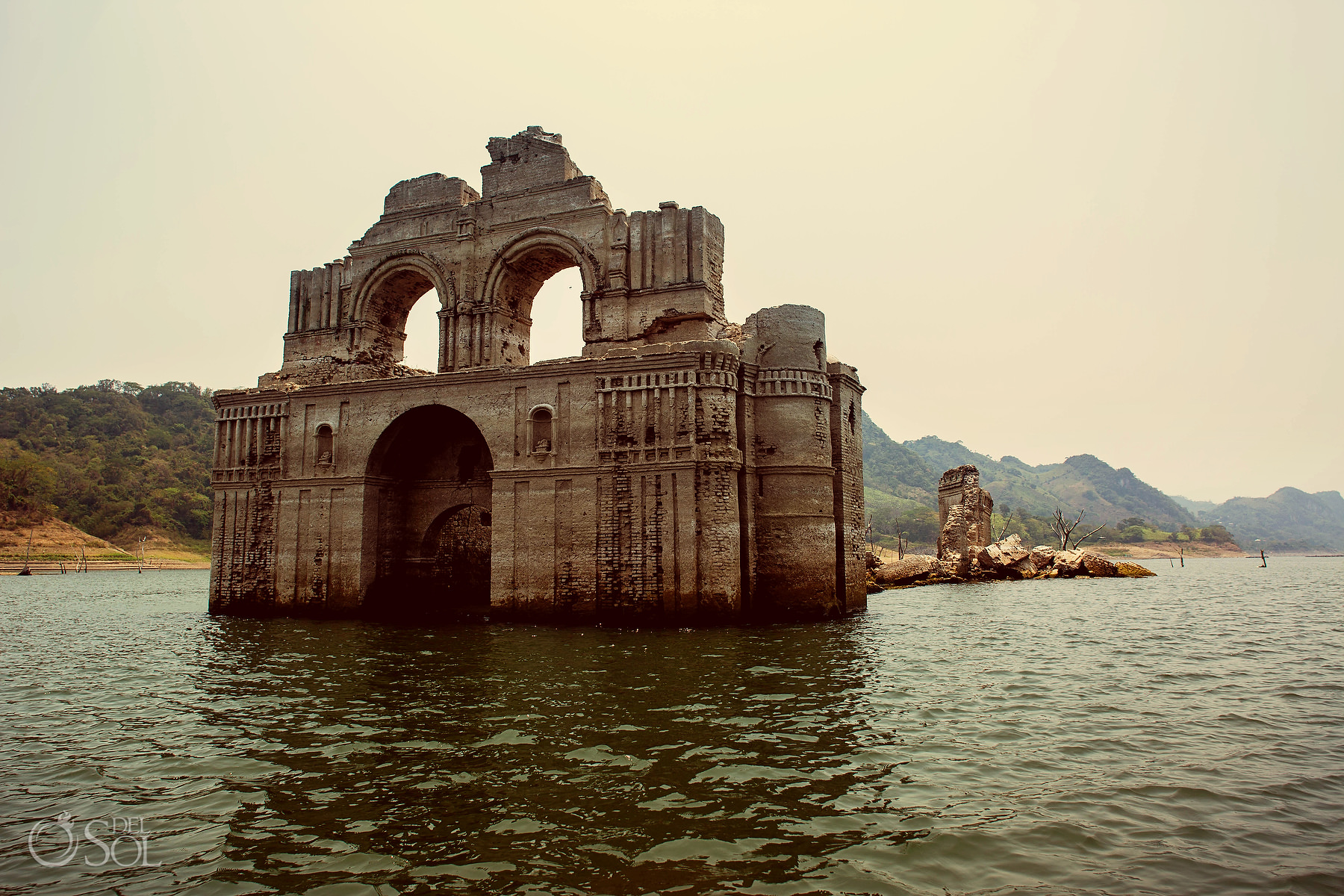 Epic Church out of the water in the lake in chiapas