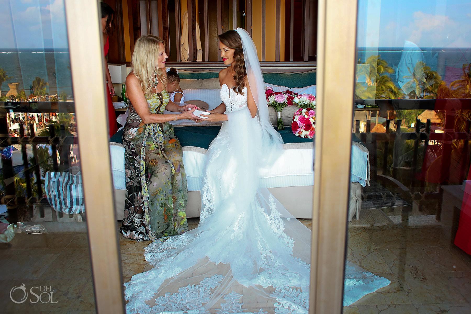 Wedding day gift mom gives bride custom bracelet Dreams Riviera Cancun