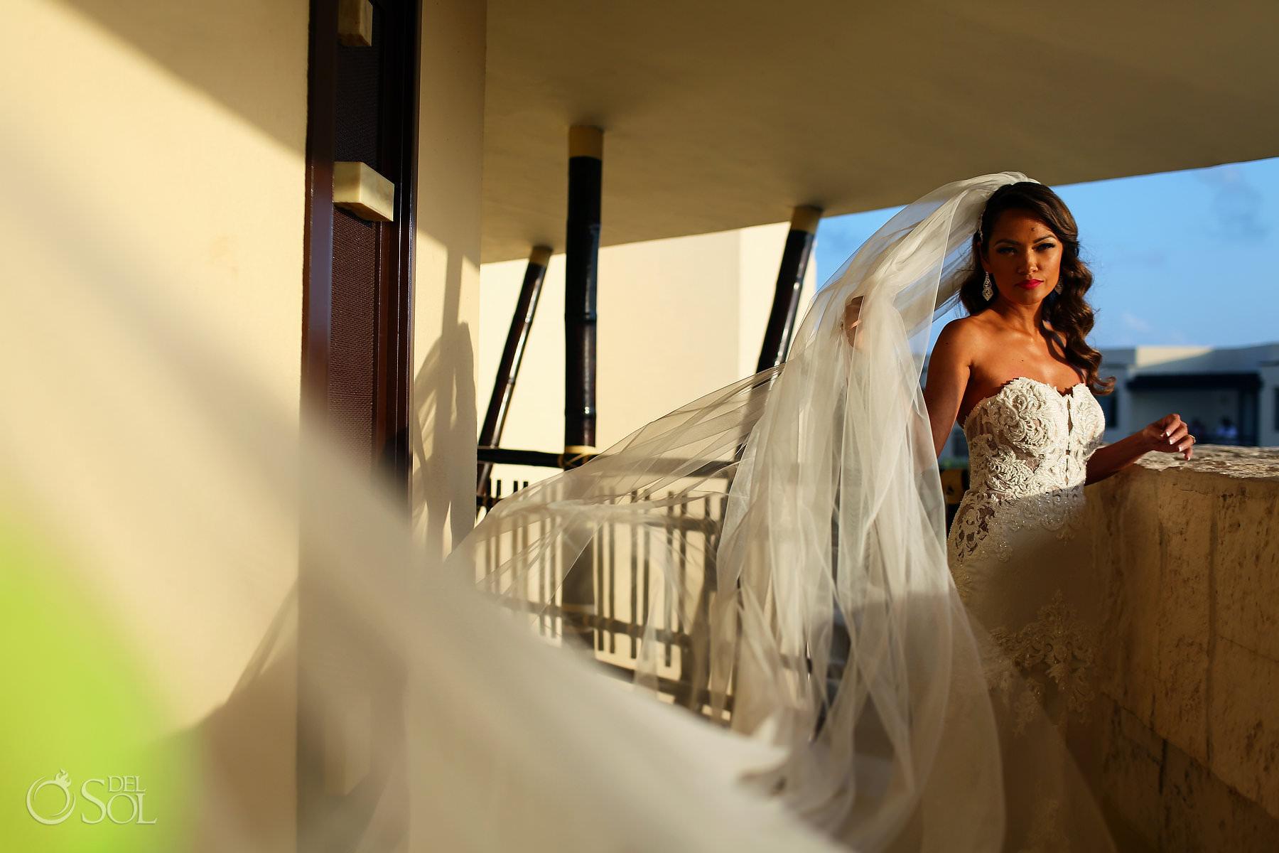 beautiful Asian Bride portrait wearing long wedding veil Martina Liana dress Dreams Riviera