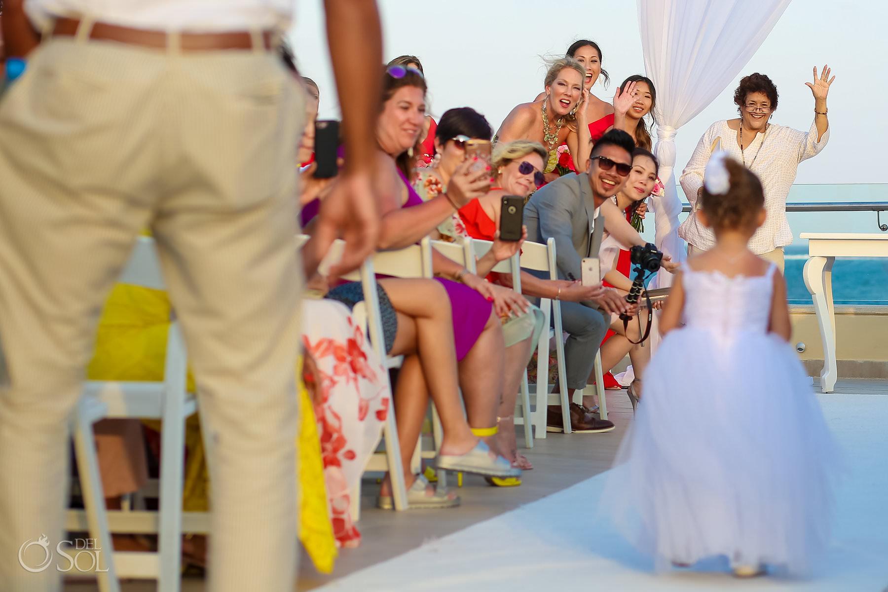 cutest flower girl moments Terrace wedding venue Dreams Riviera Cancun Mexico