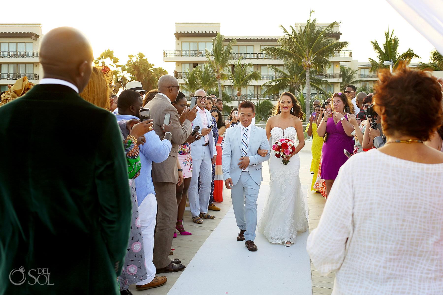 Dreams Riviera Cancun Oceana Rooftop Wedding Bride entrance