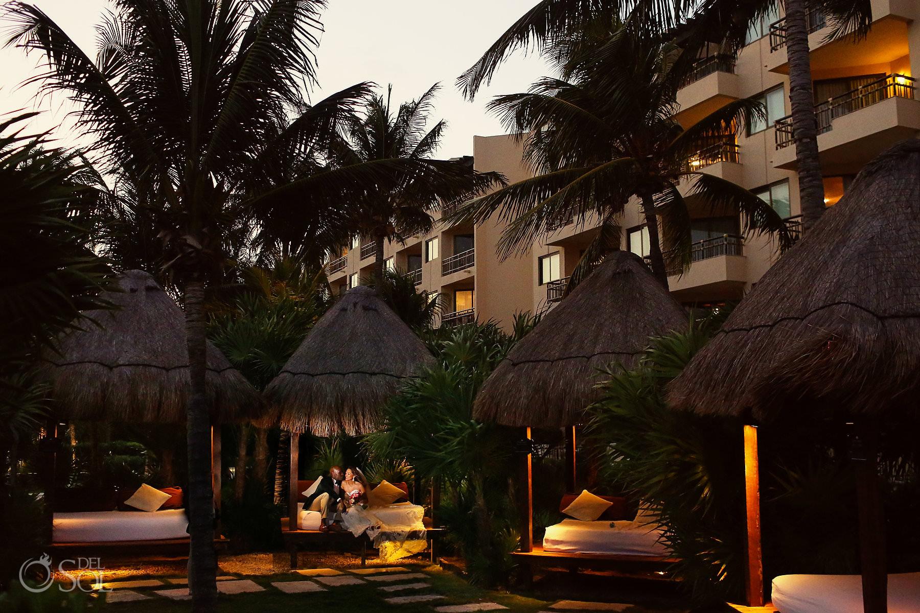 Wedding portrait session Jungle garden location Dreams Rivera Cancun Mexico