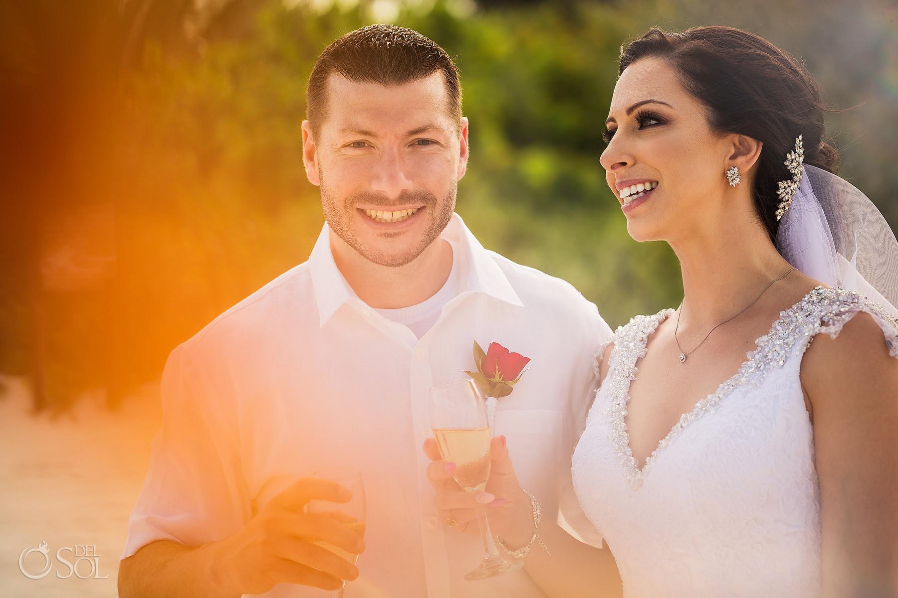 happy bride and groom Secrets Maroma Elopement Playa del Carmen Mexico