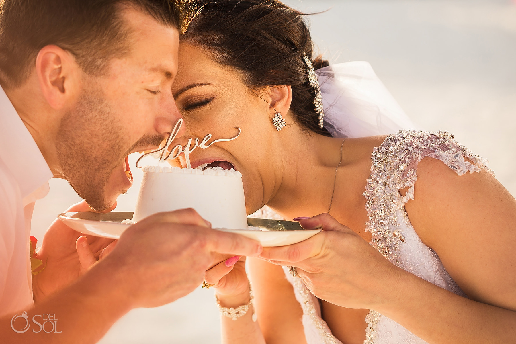 epic cake cutting bride and groom Secrets Maroma Elopement Playa del Carmen Mexico