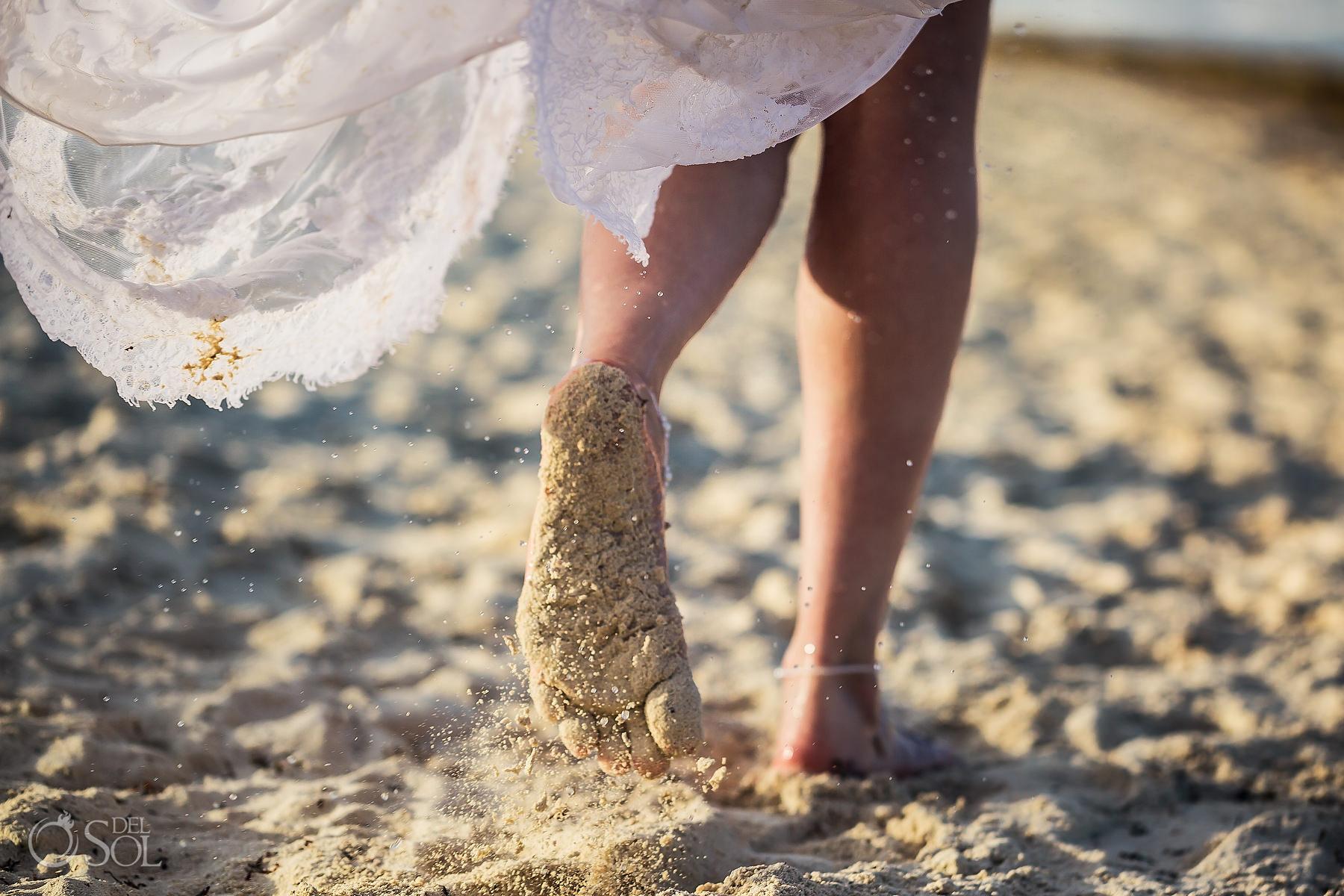 sandy feet Secrets Maroma Elopemen
