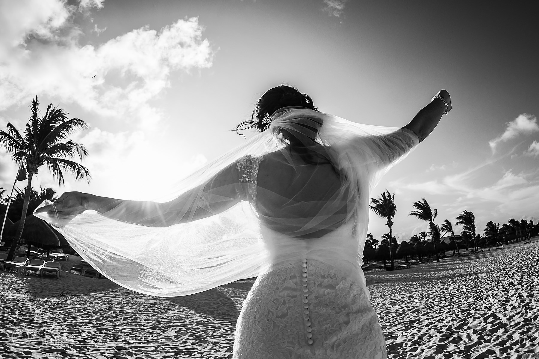black and white bridal veil Secrets Maroma Elopement Mexico