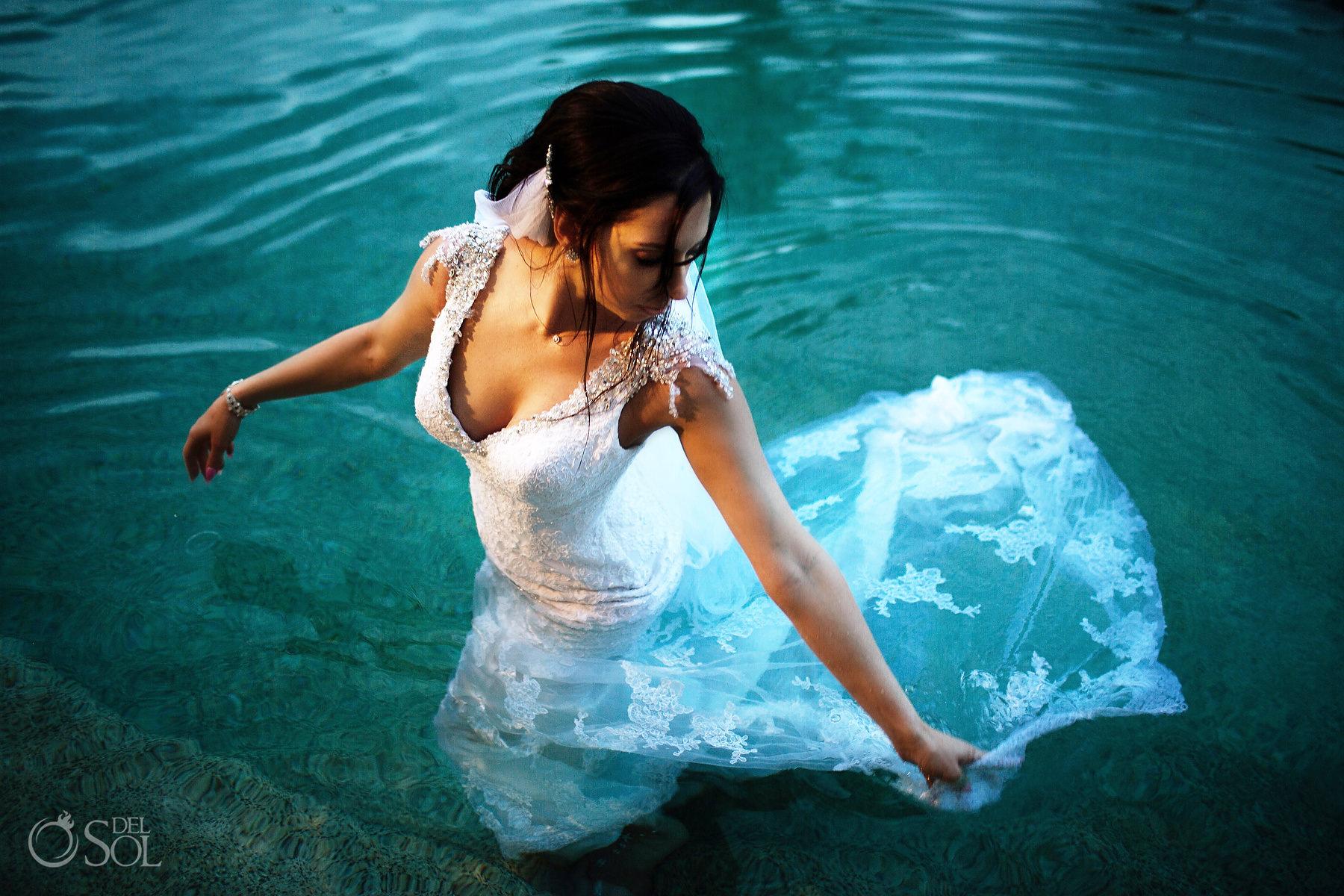 Secrets Maroma pool trash the dress photographer