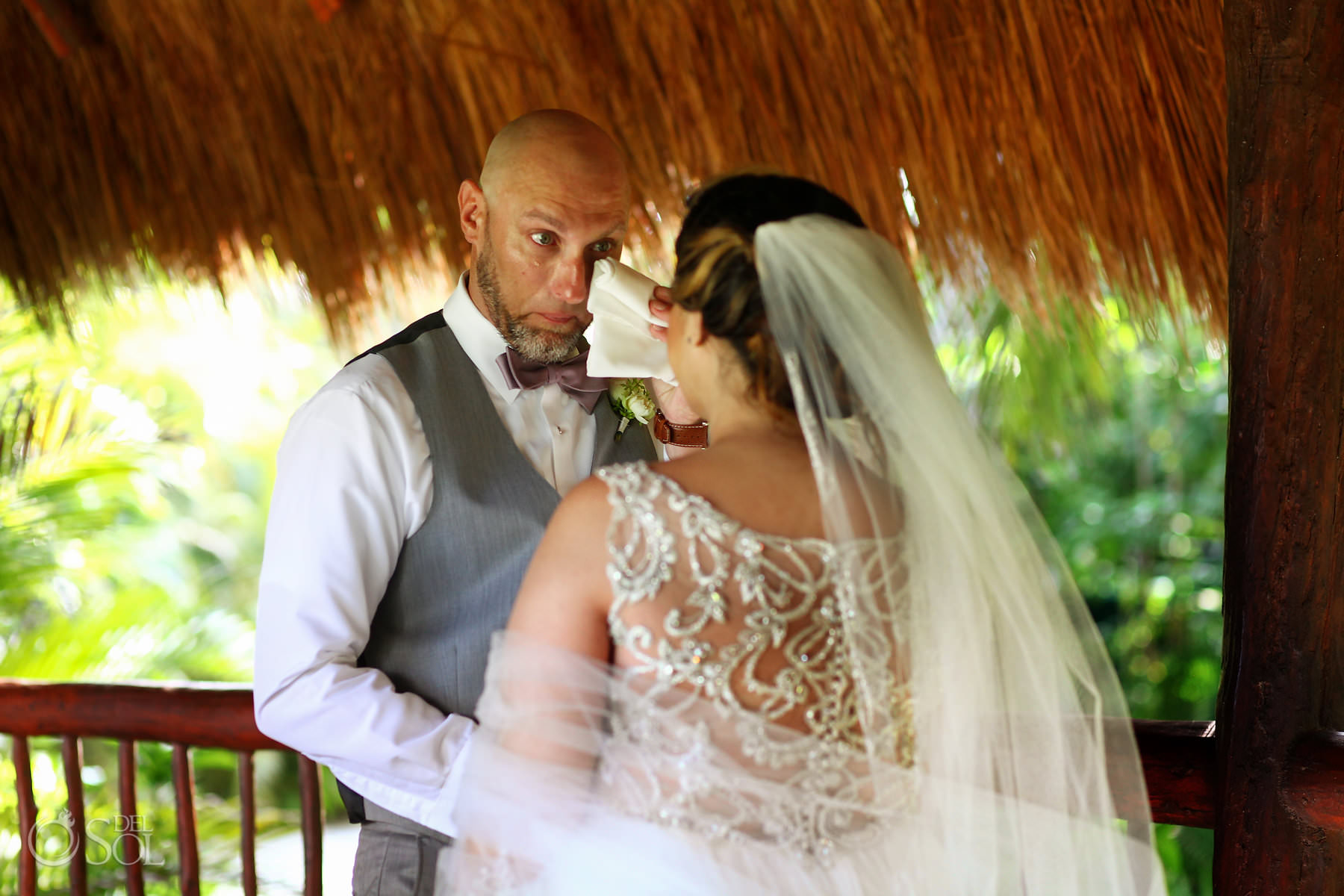 Akumal Bay beach wedding first look groom crying Tulum Mexico