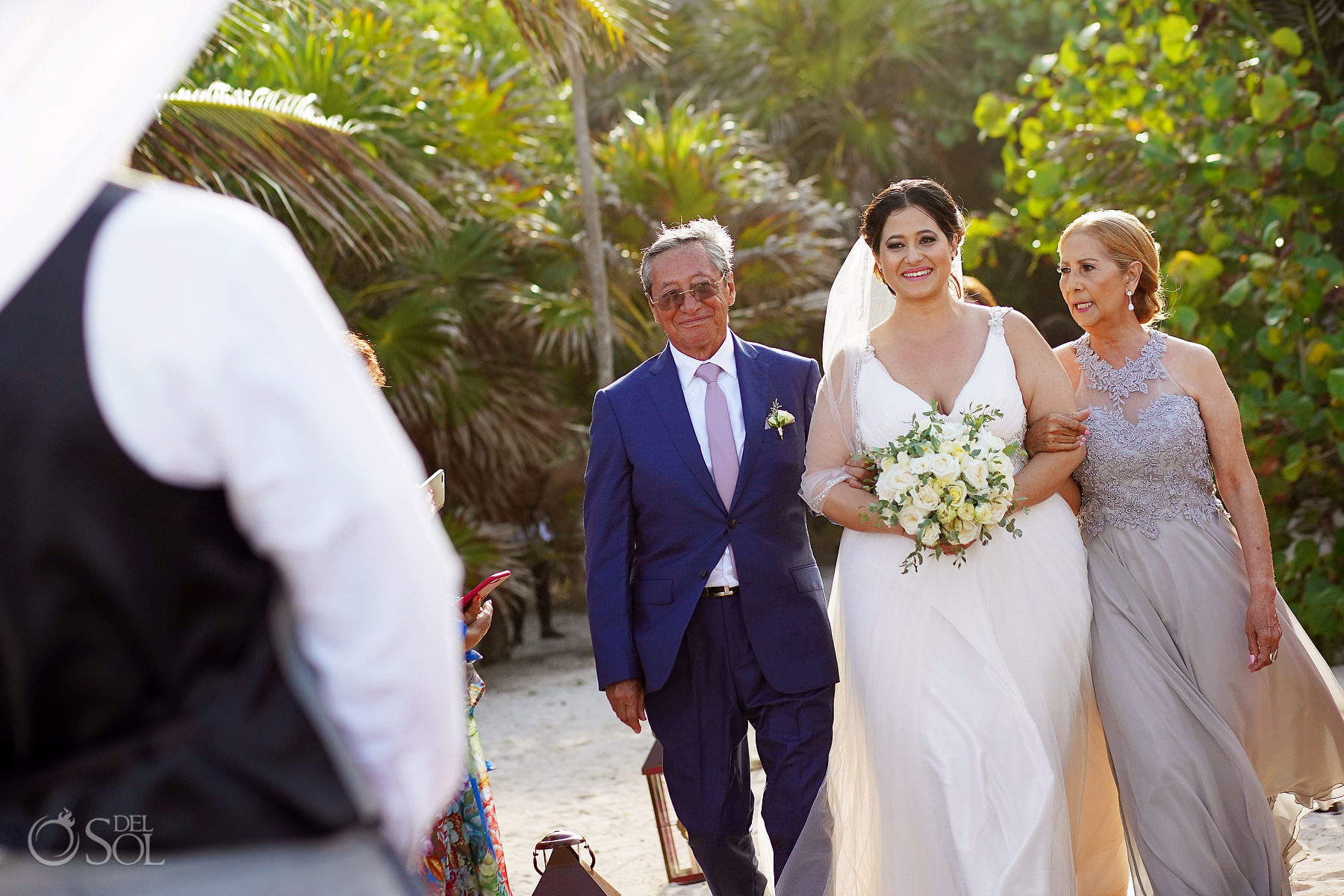 Akumal Bay Beach wedding bride entrance tropical sea location