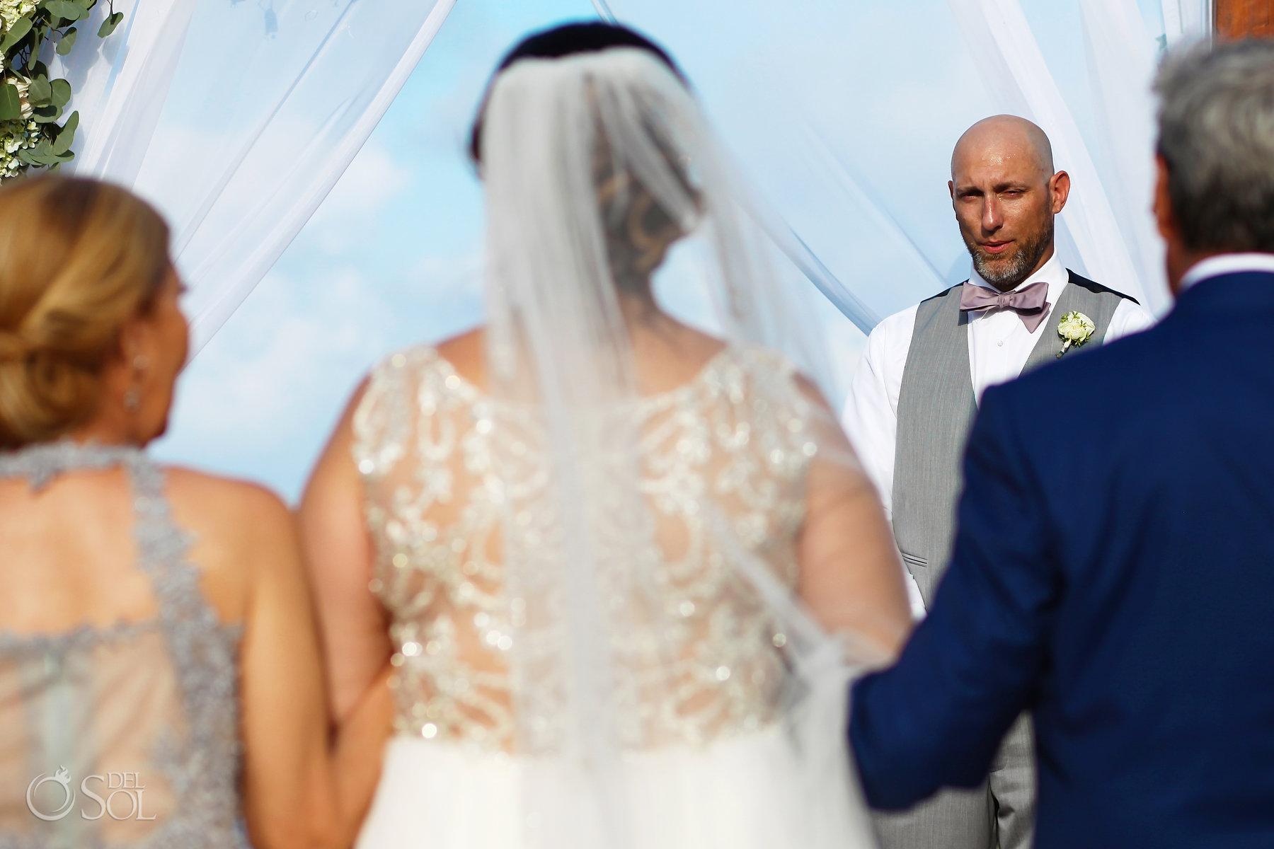 Akumal Bay tropical sea beach wedding first look