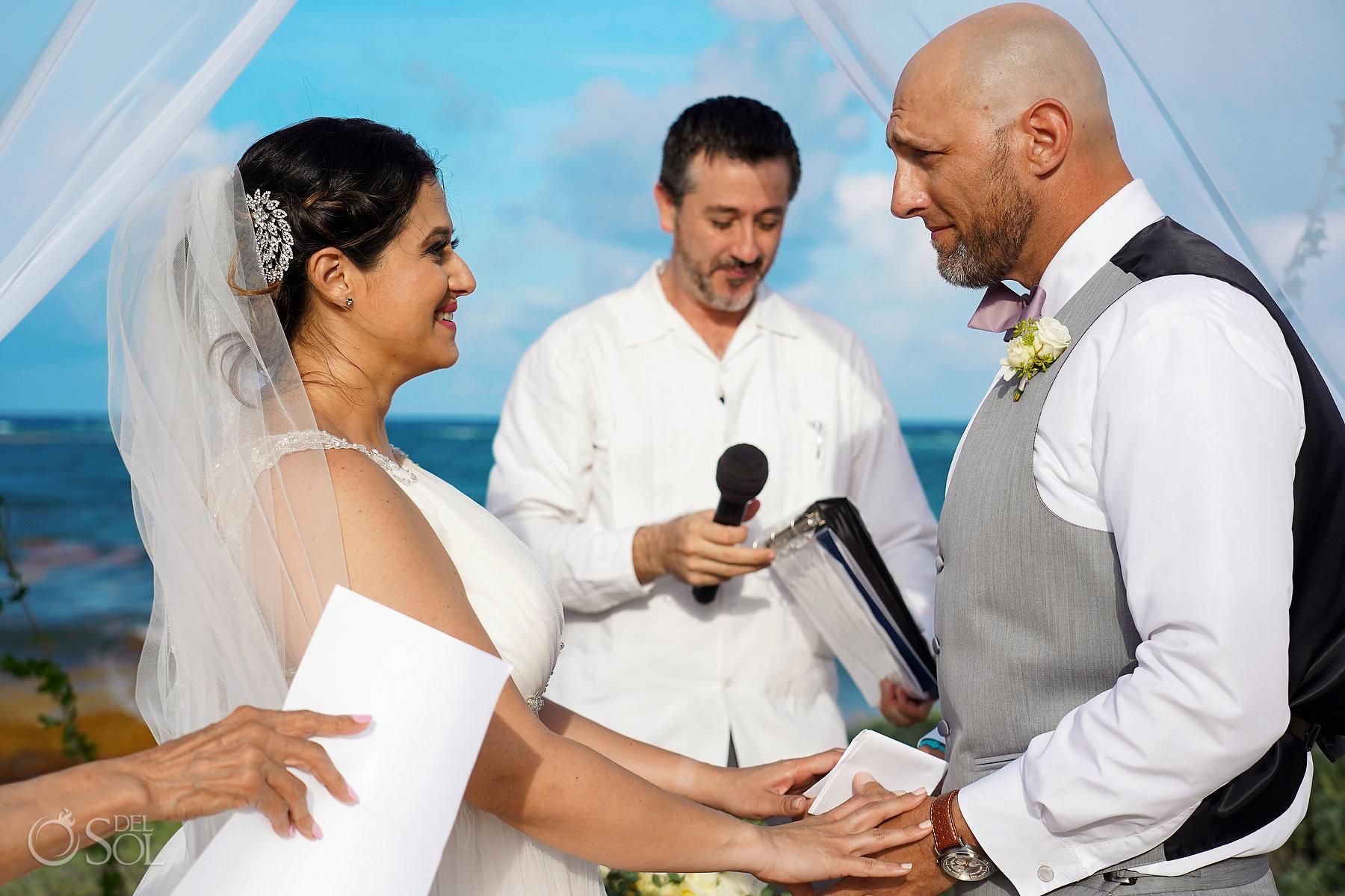 Akumal Bay beach wedding vows Tulum Mexico