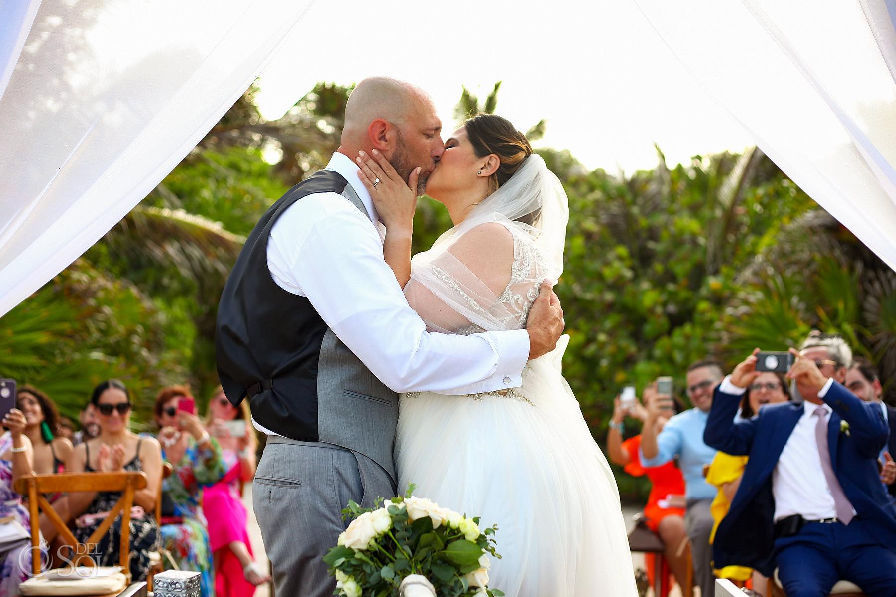 First kiss Akumal Bay Beach wedding tropical sea location