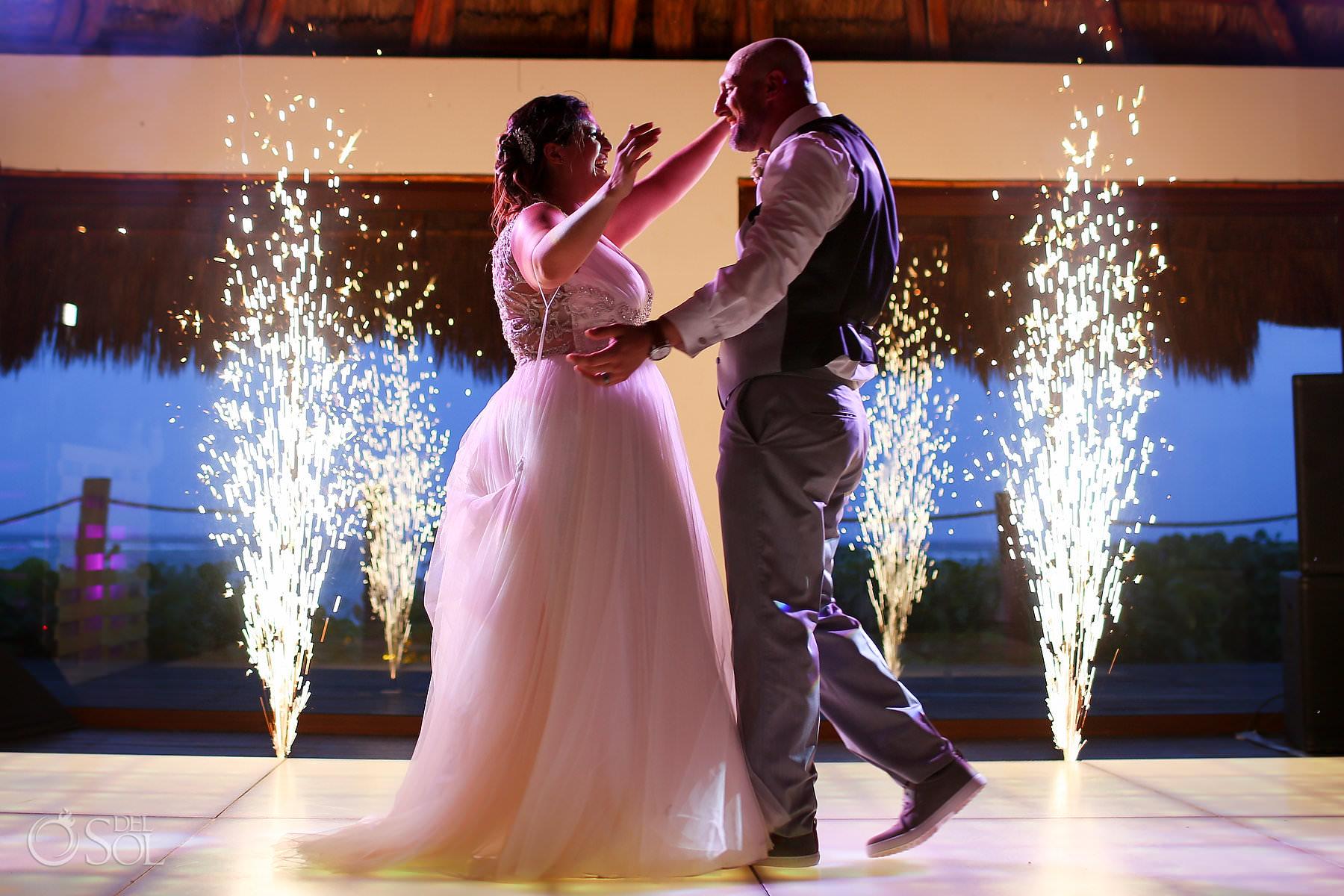 First Dance cold fireworks Labna Palapa akumal bay beach and wellness resort wedding reception