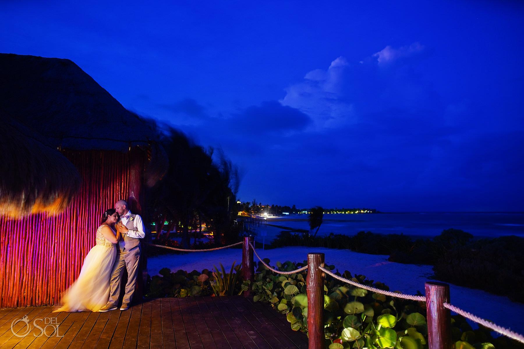 #TravelforLove long exposure portrait akumal bay beach and wellness resort wedding