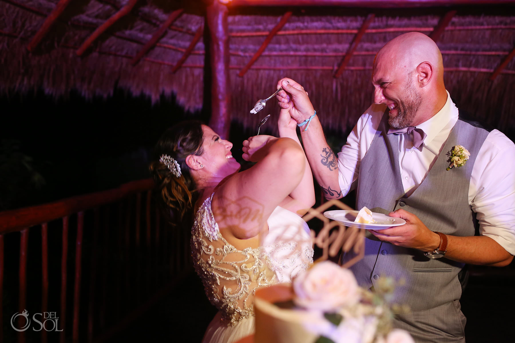 Cake cutting Labna Palapa akumal bay beach and wellness resort wedding reception