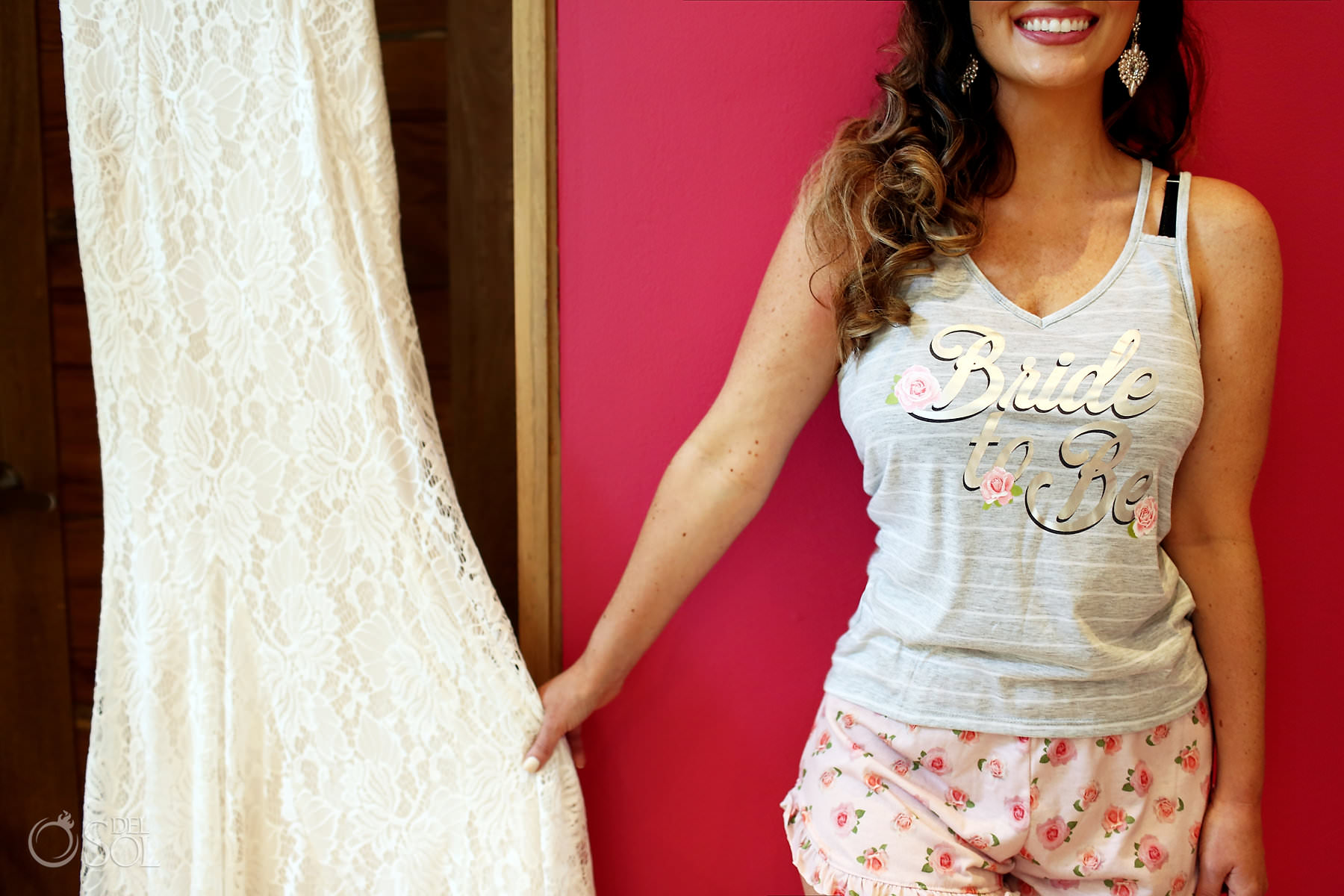 Bride to be t-shirt Lillian West Wedding dress getting ready Hotel Xcaret Mexico