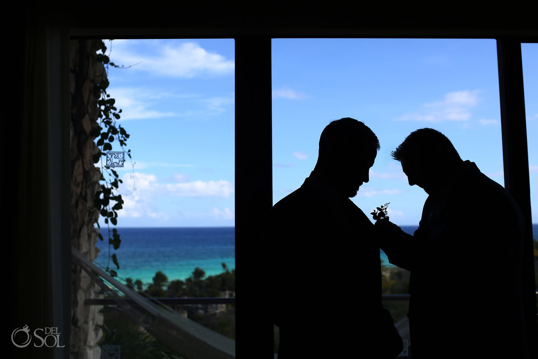 Hotel Xcaret Mexico Wedding groom getting ready silhouette