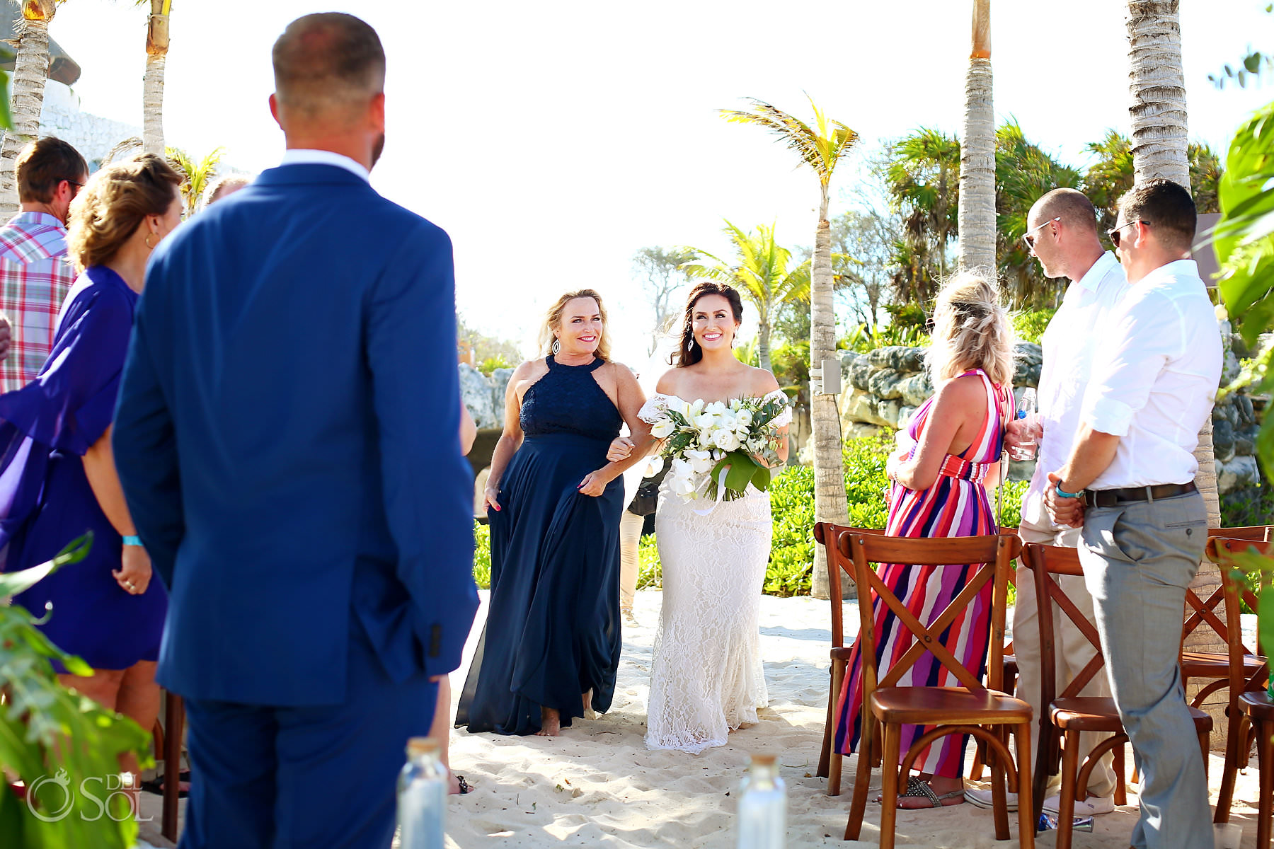 Hotel Xcaret Mexico beach wedding bride entrance Lillian West dress