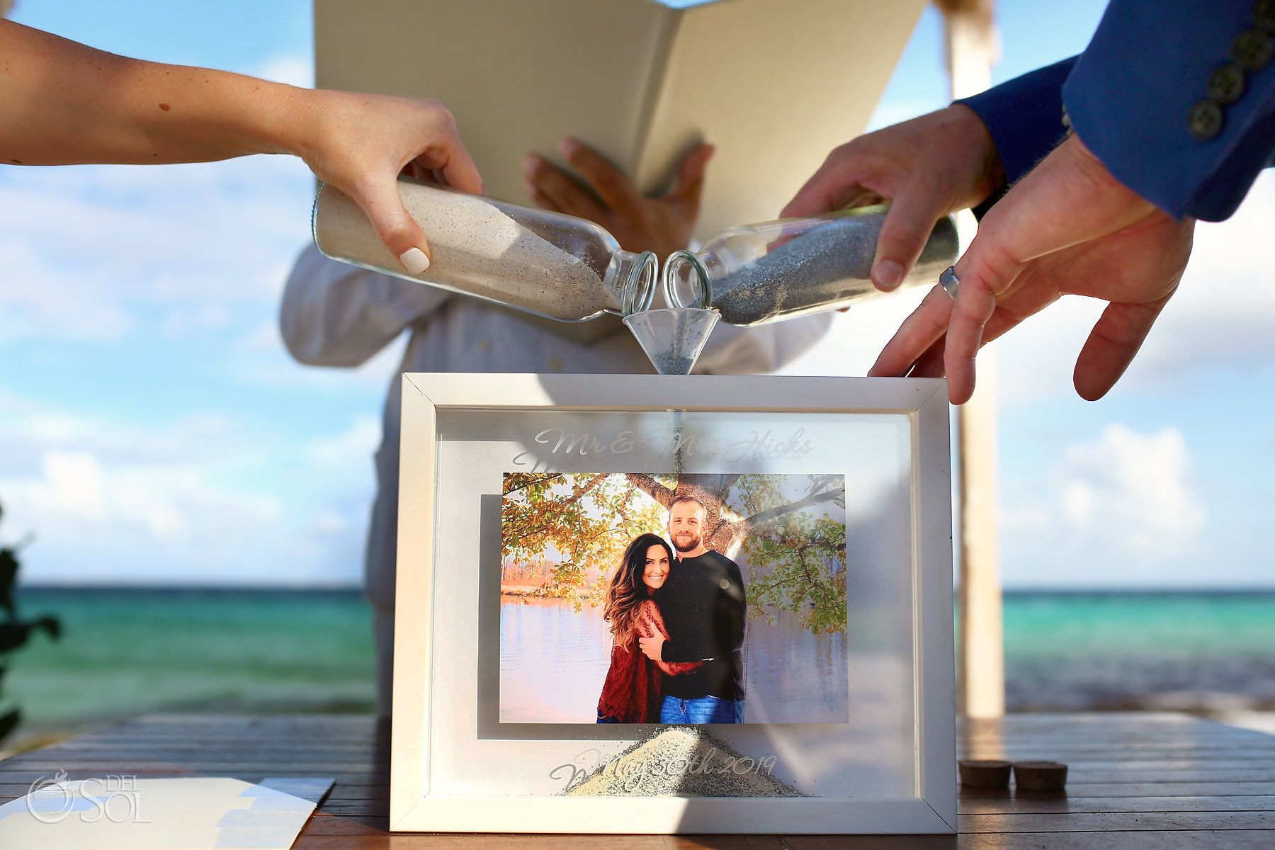 Sand Ceremony ideas picture frame Hotel Xcaret Mexico Wedding