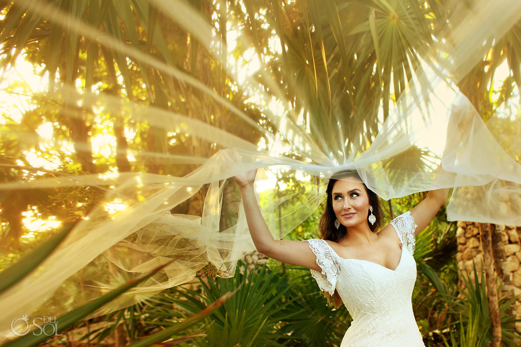 Hotel Xcaret Mexico Wedding photographer bride veil portrait