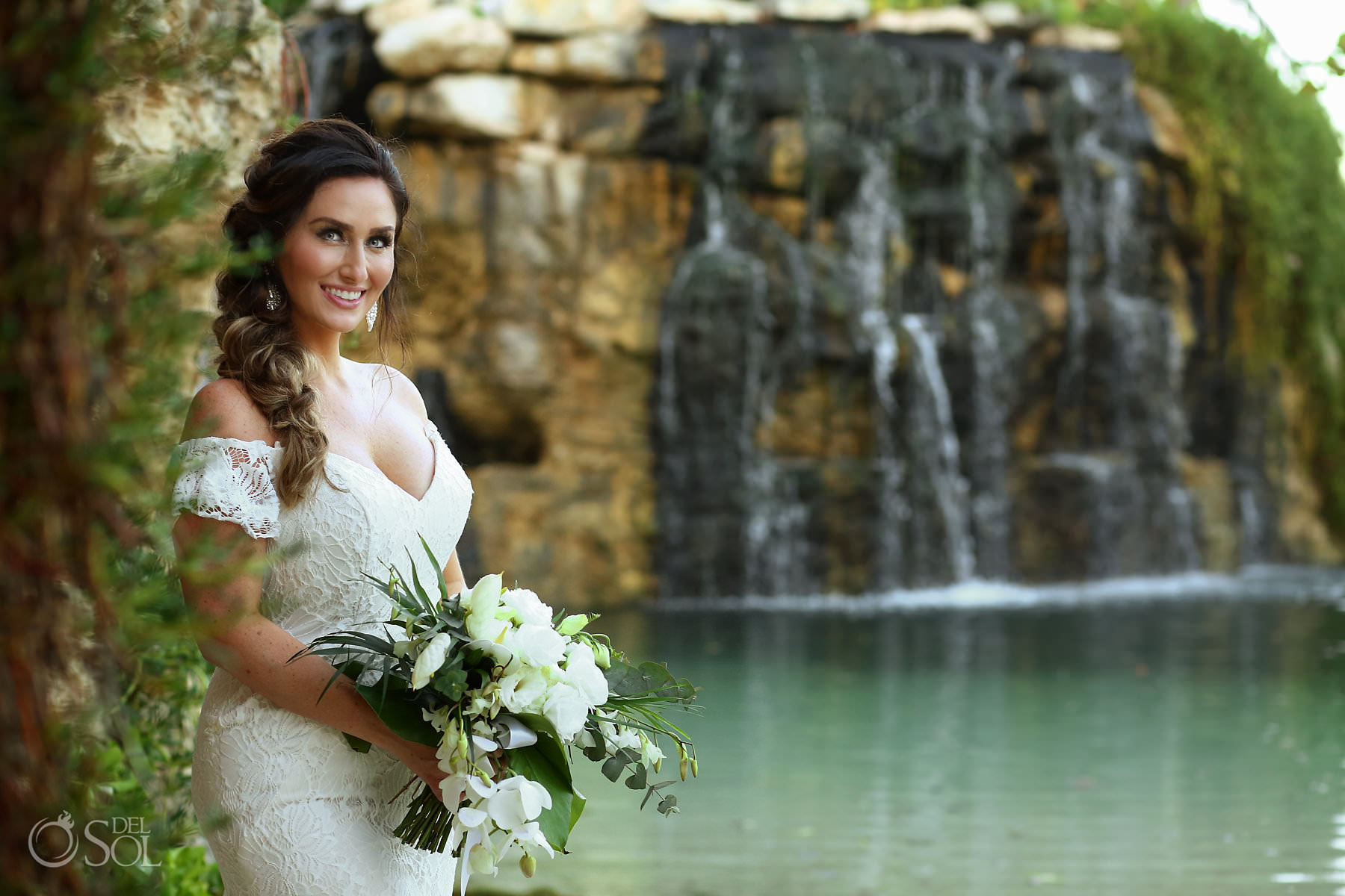 Hotel Xcaret Mexico Wedding coctail location Cuevitas Caleta waterfall