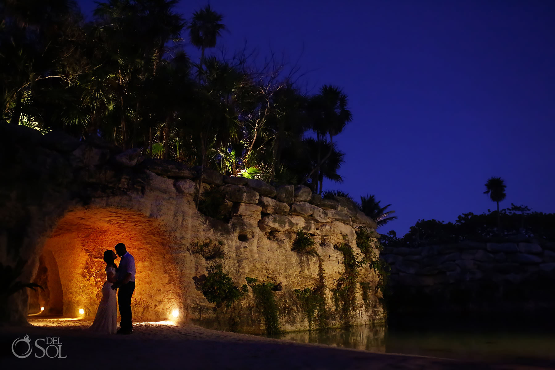 Hotel Xcaret Mexico Wedding reception location Cuevitas Caleta portrait