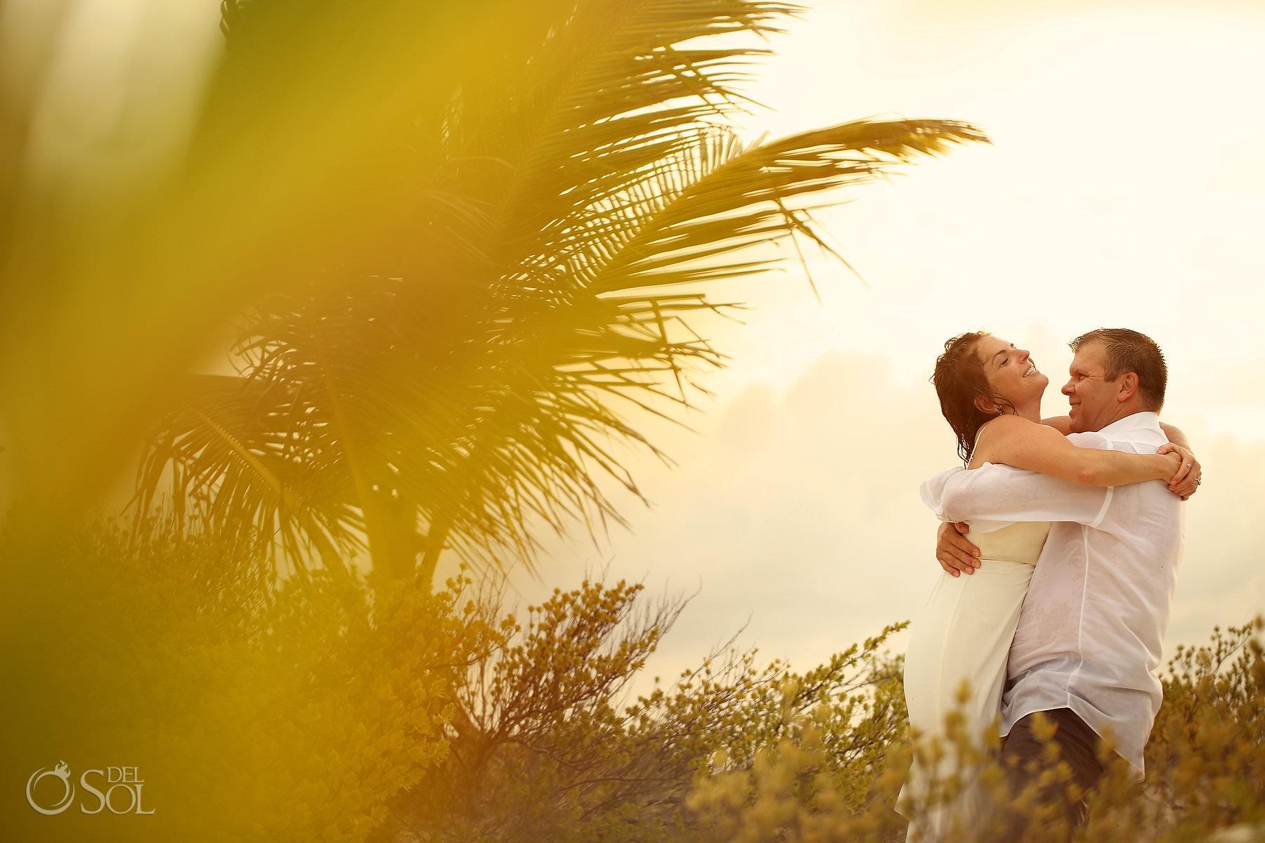 Dreams Playa Mujeres Trash the Dress Isla Blanca sunset portrait session golden hour