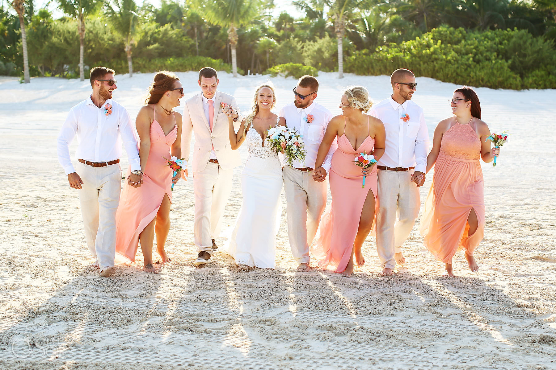 beach wedding bridal party