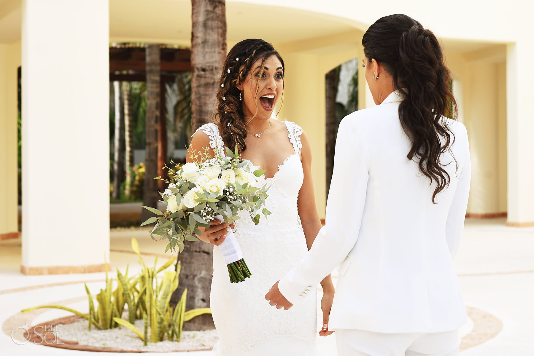 Brides first look Mexico Same Sex Wedding at Secrets Maroma Beach Riviera Cancun