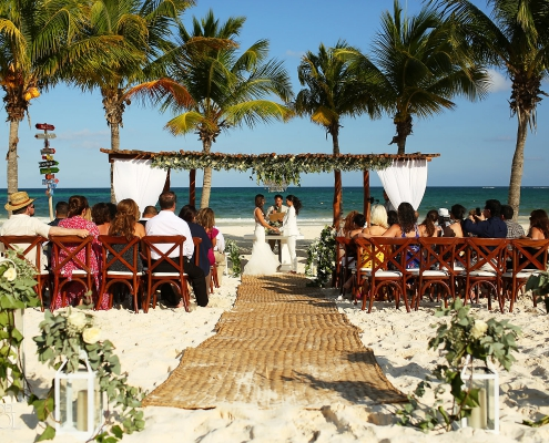 Mexico Same Sex Beach Wedding ceremony at Secrets Maroma