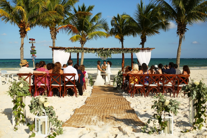 Mexico Same Sex Beach Wedding ceremony at Secrets Maroma