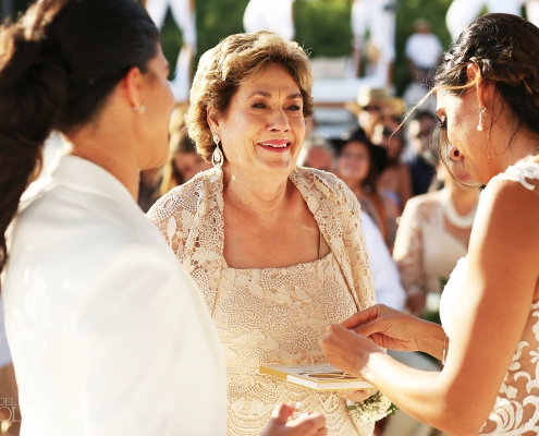 Granny ring giver Mexico Same Sex Wedding beach ceremony